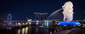 Le Merlion et le Marina Bay Sands